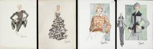 TRAVILLA FASHION SKETCHES CIRCA 1970S AND 1980S