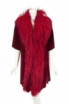 PHYLLIS DILLER PUBLICITY EVENT WORN FEATHER COAT