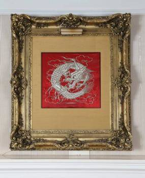 CHINESE EMBROIDERED DRAGON FRAMED TEXTILE