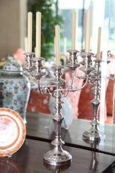 PAIR OF SILVERPLATED CANDELABRA