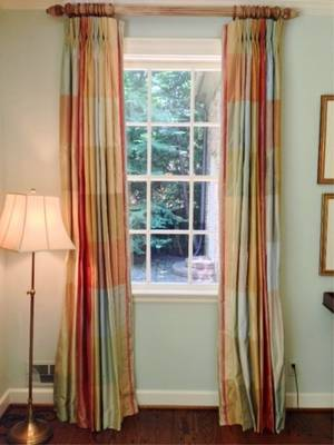 Two Sets of Silk Curtains or Window Treatments