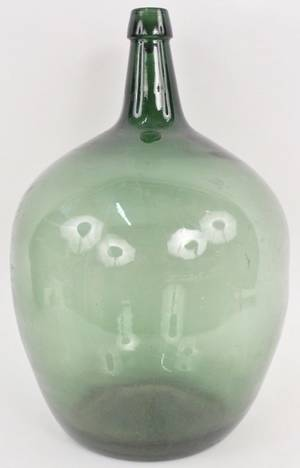 Large French Green Glass Wine Bottle