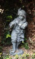 PAIR OF FIGURAL CAST LEAD GARDEN STATUES