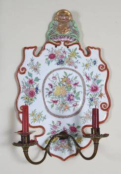 PAIR OF CHINESE PAINTED PORCELAIN WALL SCONCES