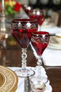 RUBY STEMWARE WITH SILVER OVERLAY