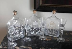 THREE SETS OF SWEDISH DECANTERS