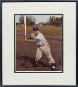 ROY CAMPANELLA 1949 BOWMAN ROOKIE CARD AND SIGNED PHOTOGRAPH