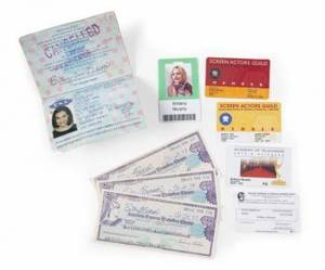 BRITTANY MURPHY PASSPORT CARDS AND CHECKS