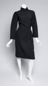 GRETA GARBO BLACK WOOL AND SHANTUNG SILK DRESS