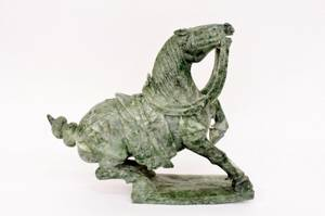 Chinese Carved Spinach Stone Horse Sculpture