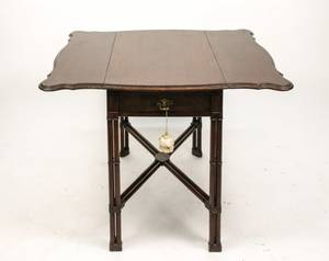 English Mahogany Faux Bamboo Pembroke Table