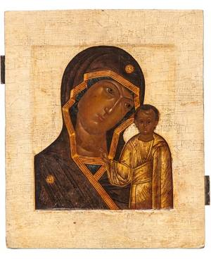 A RUSSIAN ICON OF THE KAZANSKAYA MOTHER OF GOD 17TH CENTURY