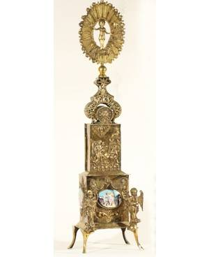 A RUSSIAN GILDED SILVER CIBORIUM WITH ENAMELED DECORATIONS 1803