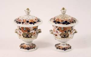 Pair 19th C Derby Imari Palette Condiment Jars