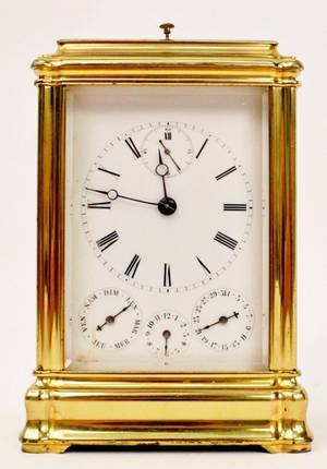French 19th C Aiguilles Brass Carriage Clock
