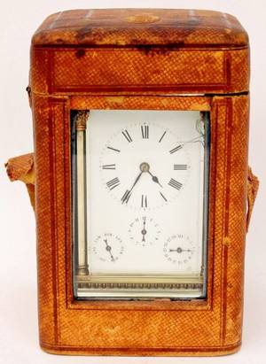 Aiguilles Brass Carriage Clock wLeather Case