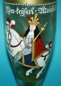 251 TALL ENAMEL DECORATED GLASS HUMPEN AND COVER
