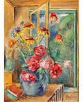DAVID BURLIUK RUSSIAN 18821967 Flowers in a Green Vase