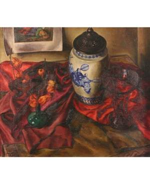 FRANK COHEN KIRK RUSSIANAMERICAN 18891963 Still life of Red and Green Vases and Oriental Porcelain Jar