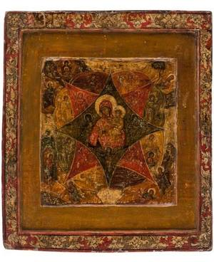 A RUSSIAN ICON OF THE VIRGIN OF THE BURNING BUSH 18TH CENTURY