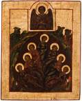A RUSSIAN ICON OF THE SEVEN SLEEPERS OF EPHESUS 18TH CENTURY
