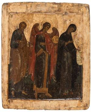 A RUSSIAN ICON OF SAINT PETER ARCHANGEL MICHAEL AND THE HOLY VIRGIN 17TH CENTURY