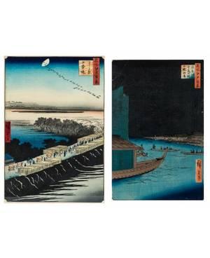 A GROUP OF TWO UKIYOE PRINTS FROM THE SERIES ONE HUNDRED FAMOUS VIEWS OF EDO UTAGAWA ANDO HIROSHIGE JAPANESE 17971858