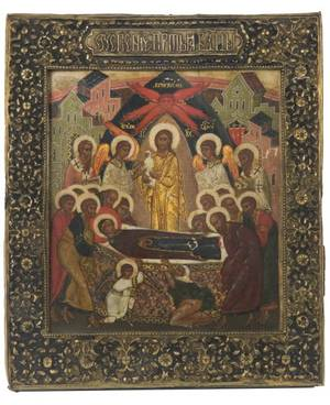 A RUSSIAN ICON OF THE DORMITION OF THE VIRGIN MARY MOSCOW 17TH CENTURY IN A SILVER BASMA OKLAD CIRCA 1776