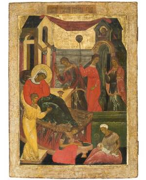 A RUSSIAN ICON OF THE NATIVITY OF THE HOLY VIRGIN 17TH CENTURY OR POSSIBLY 19TH IN THE STYLE OF 17TH CENTURY