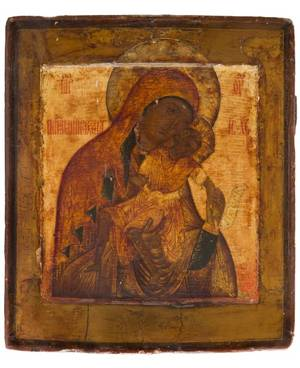 A RUSSIAN ICON OF THE MOTHER OF GOD OF KYKKOS THE MERCIFUL STROGANOV SCHOOL 17TH CENTURY
