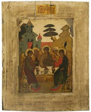 A RUSSIAN ICON OF THE HOSPITALITY OF ABRAHAM OLD TESTAMENT TRINITY 17TH CENTURY OR POSSIBLY 19TH IN THE STYLE OF 17TH CENTURY Faiths An Exhibition based upon the definition in the Epistle to the Hebrews xi 1
