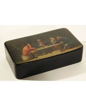 A RUSSIAN PAPIERMCH BOX LUKUTIN FACTORY MOSCOW LATE 19TH CENTURY the lid painted with an image of peasants seated at a table