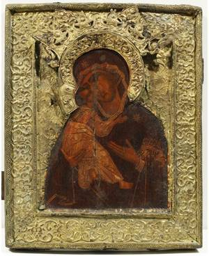 AN OLD BELIEVERS RUSSIAN ICON OF THE VLADIMIR MOTHER OF GOD CENTRAL RUSSIA 18TH CENTURY