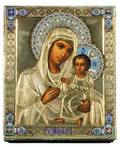 A RUSSIAN ICON OF THE TIKVINSKAYA MOTHER OF GOD WITH GILT SILVER OKLAD 18991908