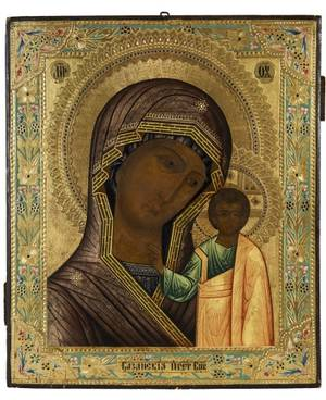 A RUSSIAN ICON OF THE KAZANSKAYA MOTHER OF GOD 19TH CENTURY