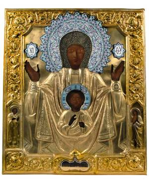 A RUSSIAN ICON OF ABALATSKAYA MOTHER OF GOD OF THE SIGN IN GILT BRASS OKLAD 19TH C