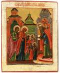 A RUSSIAN ICON OF THE VIRGIN MARY ENTERING INTO THE TEMPLE LATE 18THEARLY 19TH C