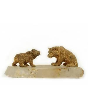 A RUSSIAN GILT BRONZE BEAR ON ROCK CRYSTAL 19TH C