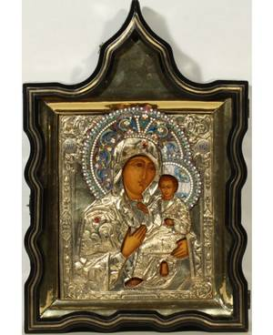 A RUSSIAN ICON OF THE TIKHVINSKAYA MOTHER OF GOD WITH GILT SILVER OKLAD AND INLAID CASE MOSCOW 1861
