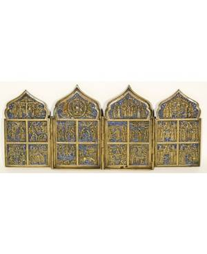 A BRASS AND ENAMEL TETRAPTYCH FOLDING ICON OF THE RESURRECTION WITH BIBLE SCENES FEATURING THE TWELVE GREAT FEASTS 19TH C