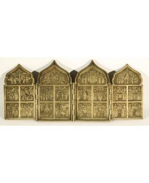 A BRASS TETRAPTYCH FOLDING ICON OF THE RESURRECTION WITH BIBLE SCENES FEATURING THE TWELVE GREAT FEASTS 19TH C
