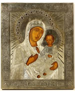 A RUSSIAN ICON OF THE IVERSKAYA MOTHER OF GOD IN A GILT SILVER OKLAD MOSCOW C 1869