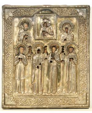 A RUSSIAN ICON OF THE MOTHER OF GOD WITH NINE MARTYRS IN A GILT SILVER OKLAD MOSCOW C 1895