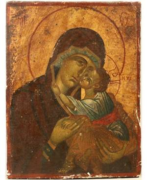 A GREEK ICON OF THE MOTHER OF GOD ELEOUSA TENDERNESS LATE 18THEARLY 19TH CENTURY