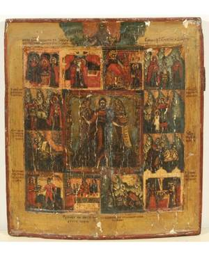 A RUSSIAN ICON OF JOHN THE BAPTIST WITH SCENES FROM HIS LIFE 18TH CENTURY