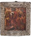 A RUSSIAN ICON OF THE DESCENT INTO HELL OF CHRIST WITH BASMA OKLAD 1800S