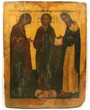 A RUSSIAN DEISIS ICON WITH THE VIRGIN MARY JOHN THE BAPTIST AND CHRIST 17TH CENTURY
