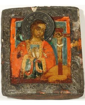 AN ICON OF THE VIRGIN MARY WITH CRUCIFIED CHRIST IN A BASMA OKLAD