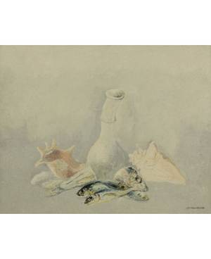 LEV MESHBERG RUSSIAN 19332007 Still Life with Bottle and Shells