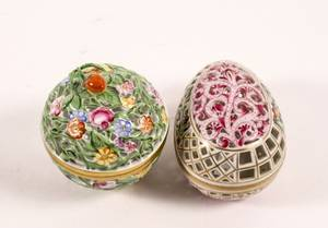 Two Herend Reticulated Porcelain Potpourri Boxes